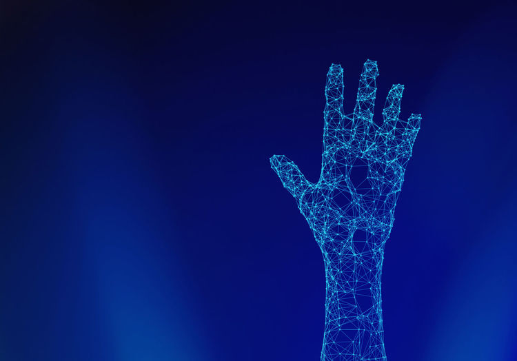 Human hand isolated on blue background with connection lines and dots in futuristic technology concept. 3d illustration Artificial Artificial Intelligence Blue Blue Background Body Part Close-up Colored Background Computer Connection Copy Space Creativity Cryptocurrency Emotion Hand Human Human Body Part Human Finger Human Hand Human Limb Indoors  Intelligence Nature Network One Person Robot Studio Shot Technology Winter