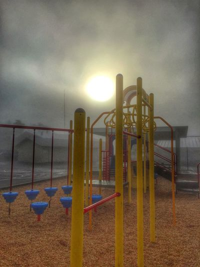 At School A Principal's Day Foggy Morning of our Playground Sunrise School At School