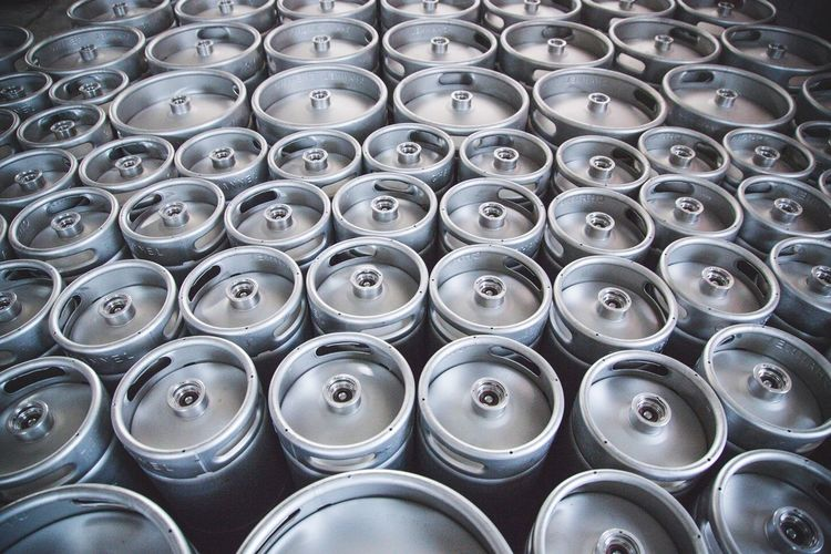 Full Frame Backgrounds Side By Side No People Repetition Large Group Of Objects In A Row Arrangement Indoors  Abundance Still Life Metal Number Order Pattern High Angle View Beer Keg Brewery Alcohol