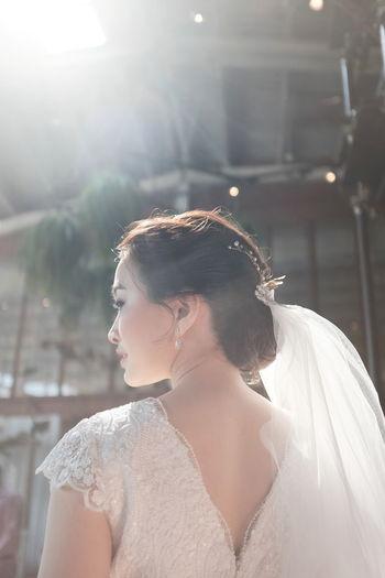 Portrait of woman wearing wedding dress