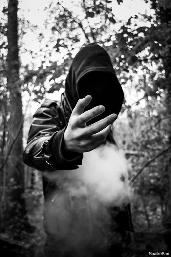 Black metal band Antzaat © Maaike Sanfrinnon Human Hand Lifestyles Hooded Shirt Focus On Foreground Nature Forest Metal Band Darkness Creepy Shotz Smoke EyeEmNewHere