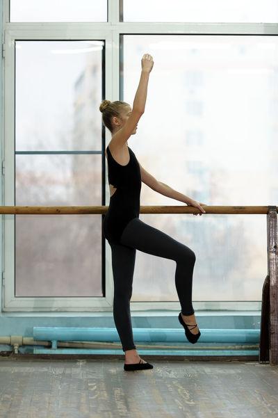 Academy Ballerina Ballet Ballet-girl Barre Caucasian Dance-hall Dancer Girl Position Practice Practice Practise Rehearsal School Stretch Student Studio Vertical Window