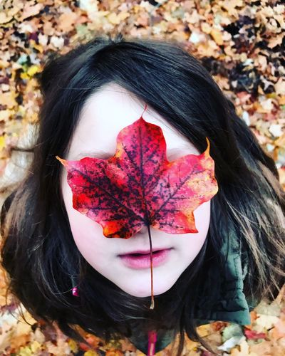Autumn One Person Leaf Brown Hair Long Hair Front View Change Maple Leaf Headshot Leisure Activity Outdoors Nature Young Adult Day One Girl Only People Young Women Childhood Real People Close-up Perspectives On Nature Perspectives On Nature