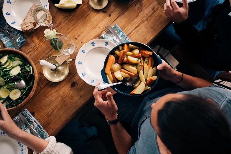 High angle view of people eating food