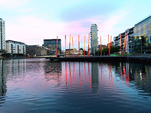 River View Neon Lights Reflections Reflections In The Water Liffey Dublin Dublin City Water Air Design Evening Sky Walk