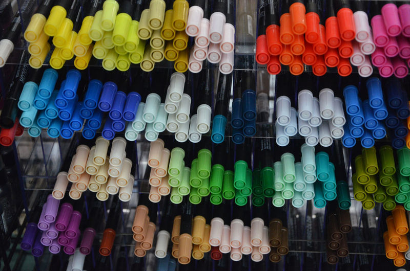 Full frame shot of colorful felt tip pens for sale in store