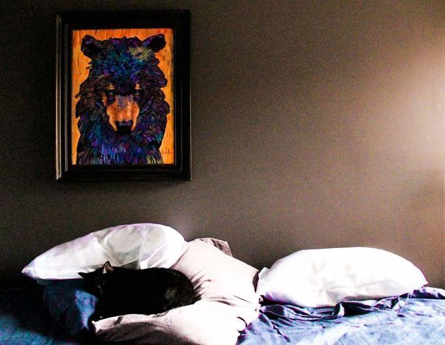 I won't go far. Manx Cat House Cat Black Cat Manx Cat ArtWork Painting Bear Unmade Bed Bedroom Bedtime Calgary