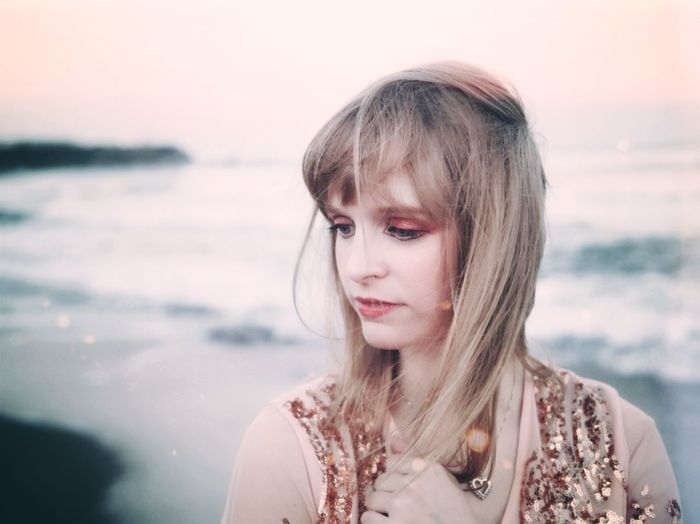 Sea And Sky 薄暮 波 夕暮れ Ondine Kimono Pale Pink Misty Hazy  Ocean Glowing Afterlight Waves Dusk Blond Hair Fragility Nostalgia Softness Fashion Photography Pale Pink EyeEm Selects Portrait Headshot One Person Sea Beach Real People Beautiful Woman