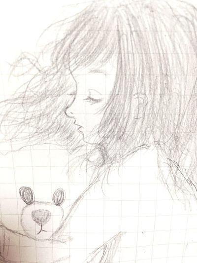 イラスト Illustration 女の子 Girl おやすみ Good night くまさん