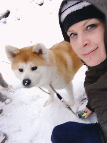 Winter Looking At Camera Animal Themes Snow Dog Pets Akita Akita-inu Akitainu  Akitas Woman Nature Outdoors