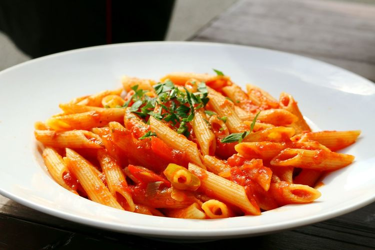 Close-Up Of Penne Arabiata In Bowl