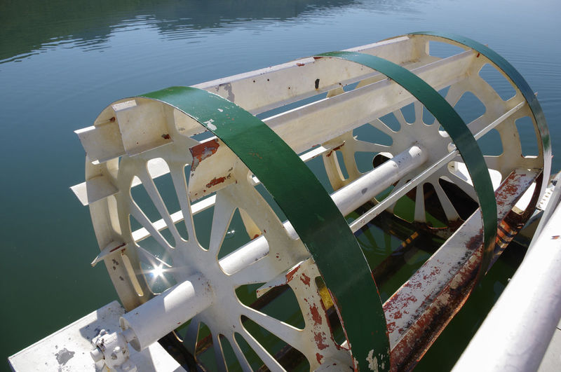 High angle view of equipment in lake