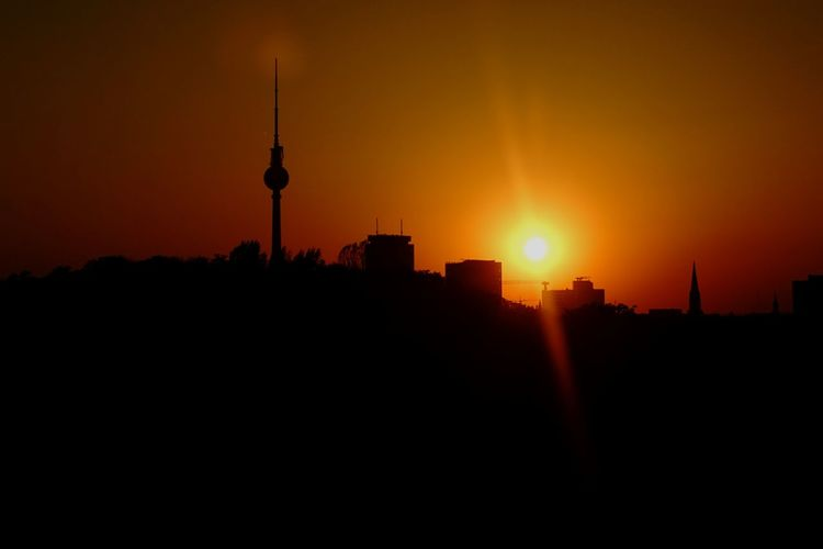 Berlin Berlin Skyline City Cityscape Urban Skyline Skyscraper Sunset Television Industry Communication Silhouette Modern Cultures Television Tower Romantic Sky Atmospheric Mood Moody Sky