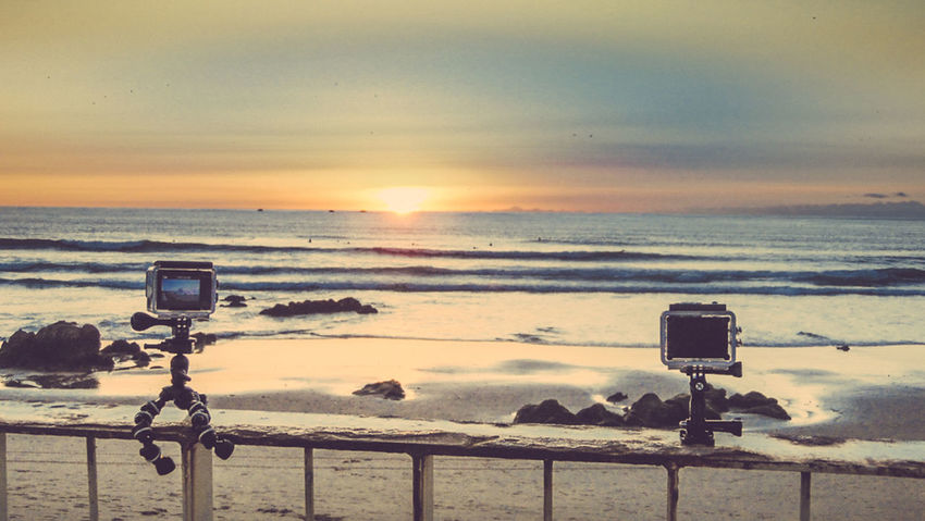 Beach Beauty In Nature Camera - Photographic Equipment Close-up Coin-operated Binoculars Day Horizon Over Water Nature Outdoors Photographing Photography Themes Scenics Sea Sky Sunset Technology Tranquil Scene Tranquility Water