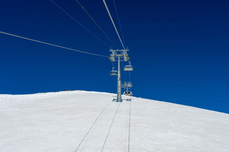 Low angle view of ski lift against clear blue sky