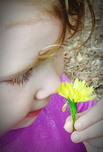 Childhood Close-up Stop And Smell The Flowers Yolo Yellow Red Heads Dandelions Petal Pusher Sweetness Girls Gods Beauty Lieblingsteil Smells Good She's My Favorite Her Favorite Flowers