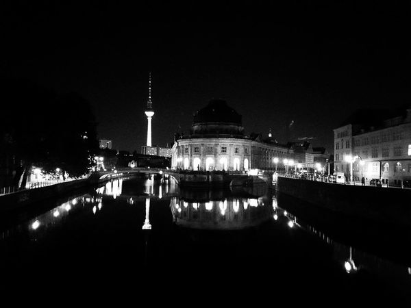 Coming home later one evening... Architecture Black & White Bodemuseum Berlin City Communications Tower Famous Place Fernsehturm / Tv Tower Illuminated Museum Island Berlin Night Reflection River Standing Water Tourism Tower Travel Destinations Water Water Surface Waterfront Discover Berlin