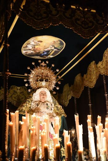 Illuminated Religion Low Angle View Spirituality Statue No People Night Built Structure Gold Colored Architecture Indoors  Semana Santa Virgen María Procesion EyeEmNewHere Virgen De La Pilarica