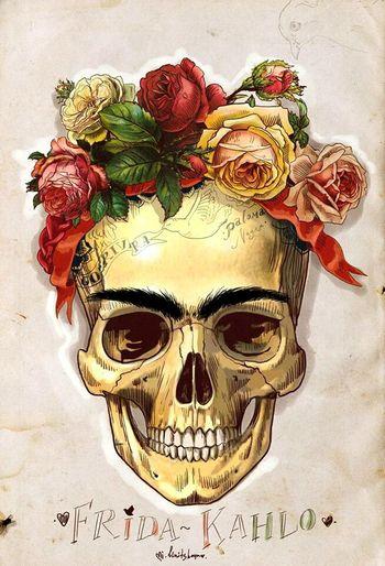 Frida Kahlo Roses I Love Her <3 Skulls♥ Mexican Skull Art Painter #artist POETRYANDSOUL Letters To Diego
