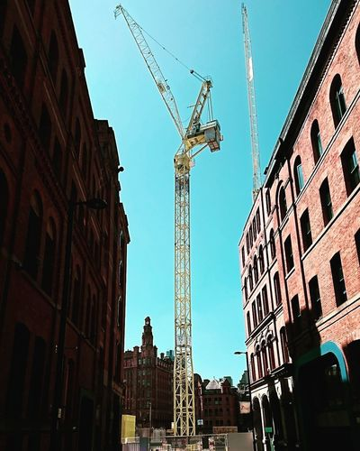 Construction 🚧 The changing skyline of Manchester Crane Manchester XPERIA Xperiaphotography City Cityscape Business Finance And Industry Architecture Sky Building Exterior Built Structure