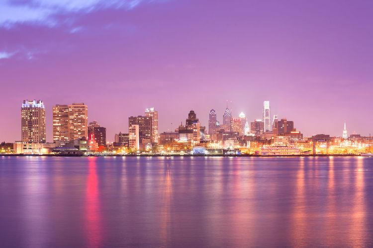 Philadelphia, pennsylvania, usa - skyline of buildings at downtown across the delaware river.