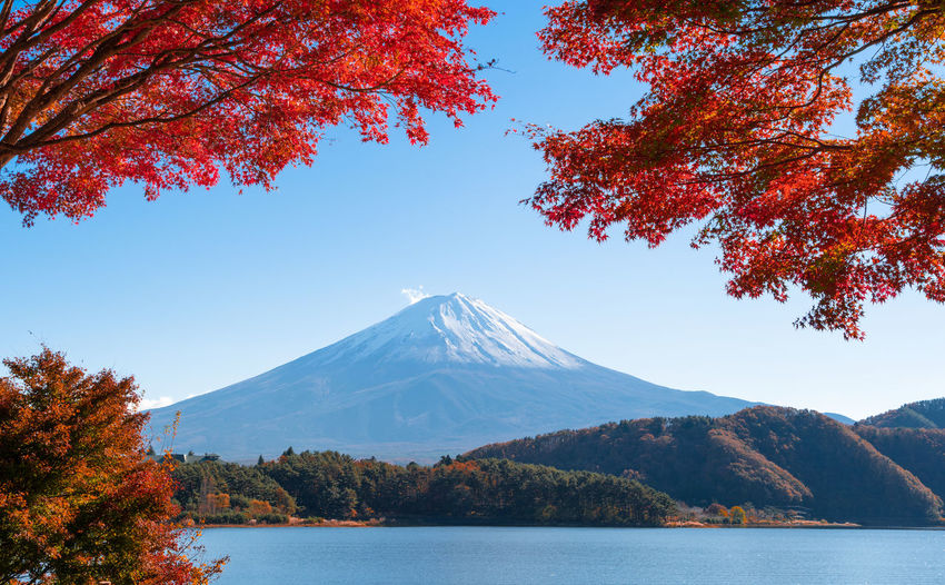 Scenic View Of Lake Against Snowcapped Mountains During Autumn