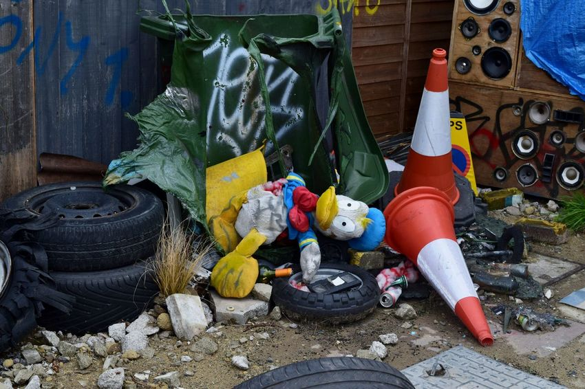 Dismaland Graffiti Banksy Donald Duck Rubbish Dump Banksyart Traffic Cones Weston-super-mare Donald Duck Tipping Trash Disney The Decline Of Donald Duck