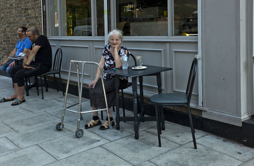 Elderly woman in Golborne Road on 6th of July 2018 in London, United Kingdom. (photo by Lorenzo Grifantini) London Ageing Elderly Seat Uk Women