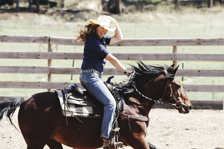 Horse Horseback Riding Ranch Riding Wild West Rural Scene Adult Outdoors Rodeo
