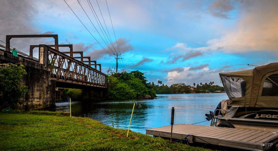 Beauty In Nature Bentota Blue Blue Sky Boat Built Structure Calm Clouds And Sky Colour Day Idyllic Nature No People Outdoors Railway Track Relax River Scenics Sky SriLanka Tranquil Scene Tranquility Water Weather Wonderland