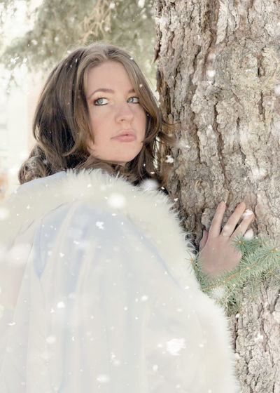Winter Beautiful Woman Close-up Cold Day Ginacollins Human Hand Leisure Activity Looking At Camera Nature One Person One Young Woman Only Outdoors People Portrait Real People Snow Snow Queen Tree Tree Trunk Young Adult Young Women