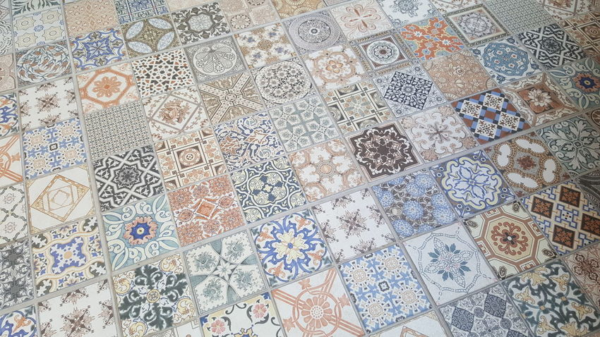 Art And Craft Design Flooring Floral Pattern High Angle View Indoors  Pattern Tile Tiled Floor