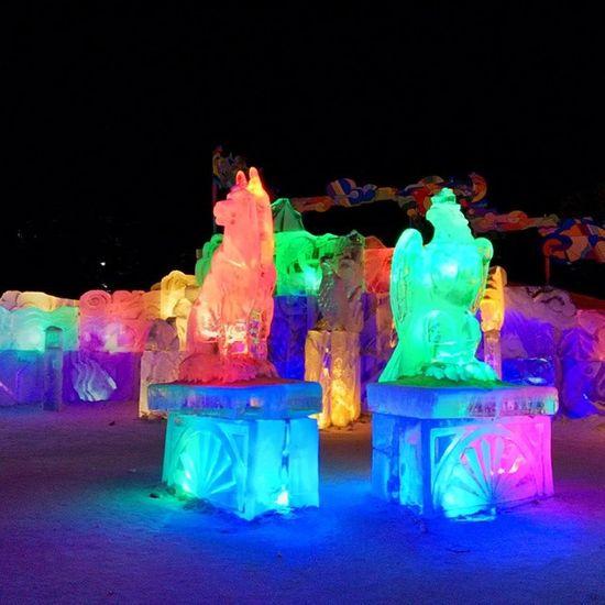 Ледяные скульптуры на Площади Советов  УланУдэ Sculpture Ice Winter colours buryatia Russia travel night light city february