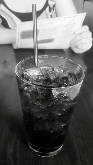 "My Drug (With ""Needle""). Food And Drink Drinking Straw Drinking Glass Drink Close-up Soft Drink Soda Pop Cool Drink Caffeine Fix Caffeine Addiction Cold Drink On A Hot Day Black And White Photography Black And White Photo"