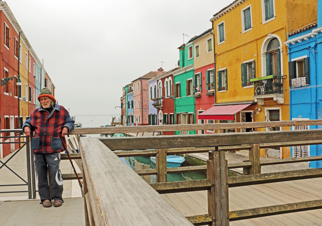 Burano, Venice Coloured Houses Day Old Man Portrait Outdoors People Sky Wooden Bridge