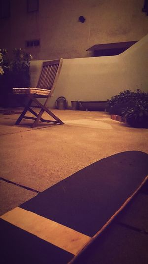 Skateboard Close-up Skateboard Nightshot Night Floor Chair Chair Architecture
