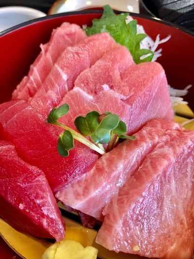"My favorite sashimi ""maguro "" Food And Drink Food Freshness Raw Food Sashimi  Seafood Indoors  Japanese Food Healthy Eating"