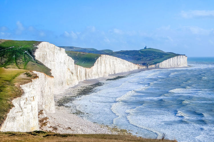 Water Beauty In Nature Scenics - Nature Nature Sea Sky Day Land No People Tranquil Scene Motion Beach Tranquility Environment Outdoors Direction Idyllic Cloud - Sky Power In Nature Flowing Water Seven Sisters Seven Sisters Cliffs Seven Sisters White Cliffs Seven Sisters Country Park