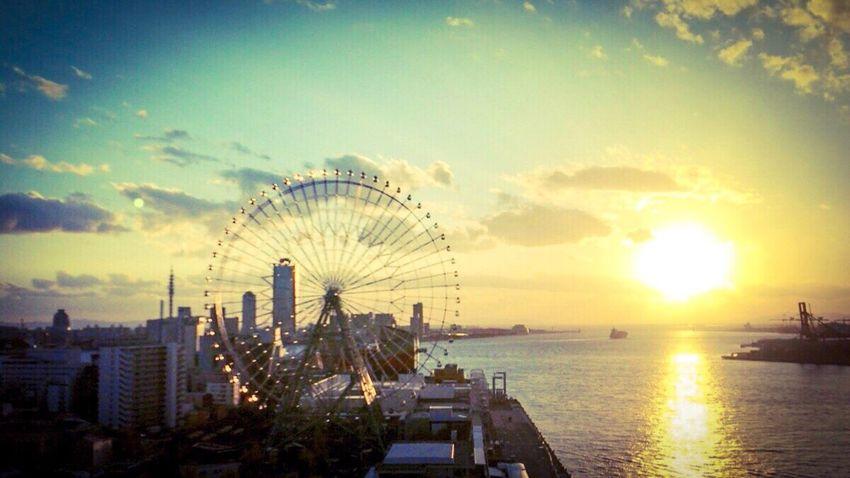 Tempozan, Osaka, Japan, sunset, ,iPhone7plus