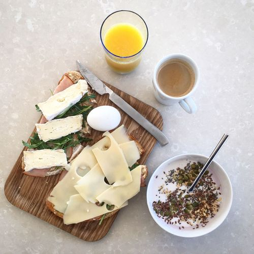 High Angle View Of Healthy Food For Breakfast