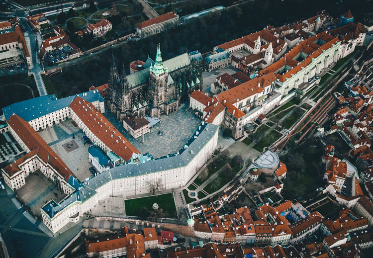 Building Exterior High Angle View Architecture Built Structure City Residential District Crowded Building Crowd Roof Cityscape Day Aerial View Outdoors Nature Water Transportation Town City Life Prague Castle Roof