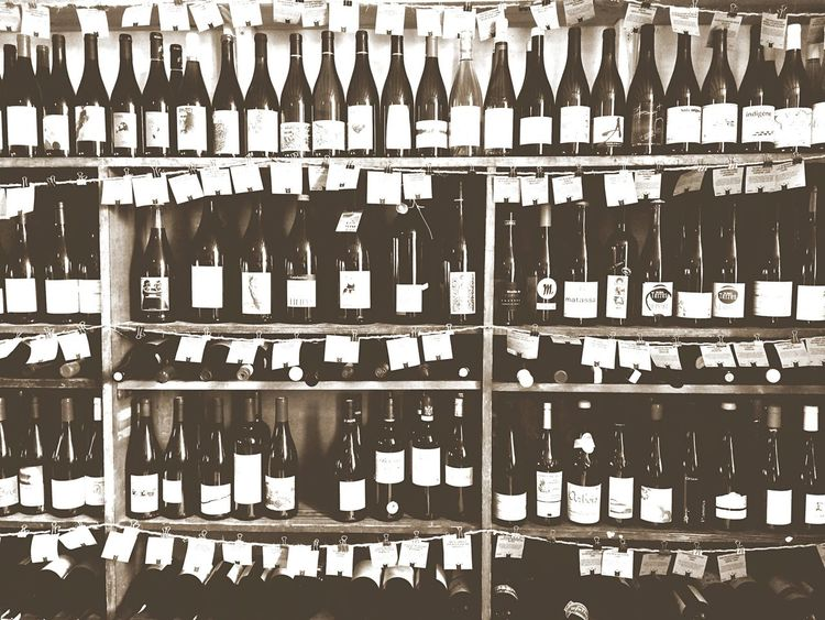 Wine Blackandwhite Large Group Of Objects Wine Bottle In A Row Shelf