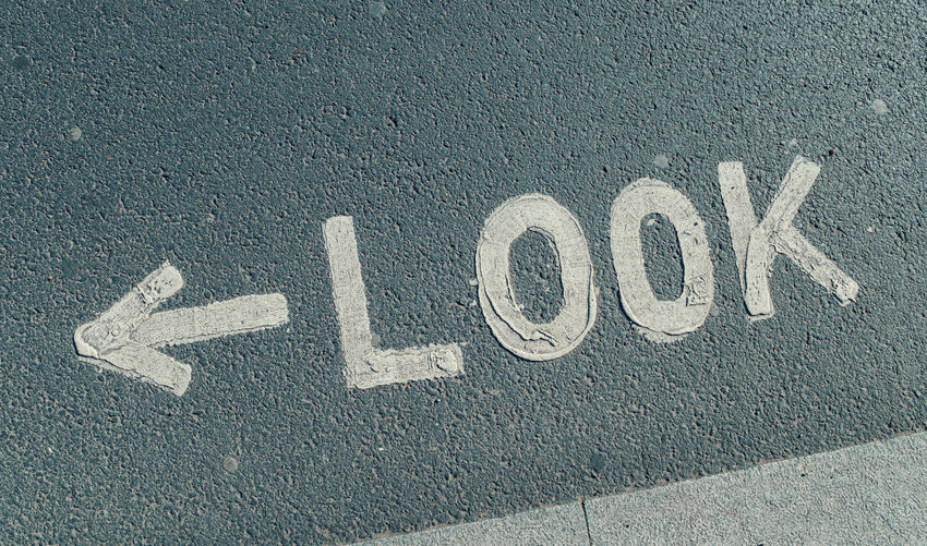 """Close-Up Of """"look"""" Sign On Wall"""