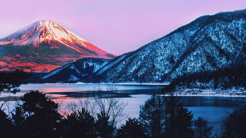 Fujimountain Fujifilm Mountain Lake Reflection Nature Beauty In Nature Snow Shades Of Winter Landscape Sunset Tree Snowcapped Mountain Outdoors