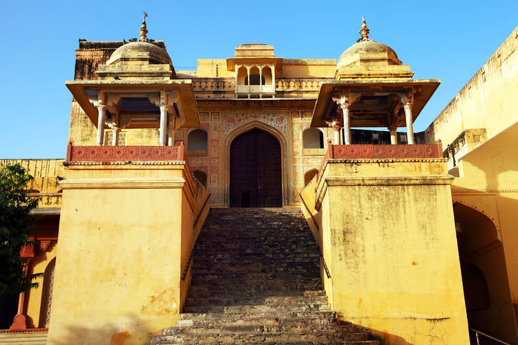 Low Angle View Of Amber Fort Against Clear Sky