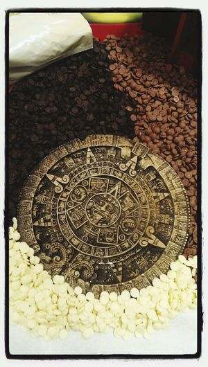 Chocolate! and an awesome Aztec (or Inca, Maya) decoration piece.