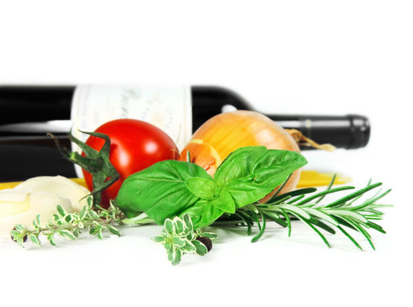 Fresh cooking ingredients with tomato, garlic, onion, thyme, peppercorns, basil leaf and rosemary on white background, design element. Basil Garlic Herbs Isolated Peppercorns Rosemary Wine Bottle Close-up Cooking Ingredient Cooking Ingredients Design Element Food And Drink Fresh Herbs  Freshness Healthy Eating Herb Isolated On White Isolated White Background Leaf Onion Studio Shot Thyme Tomato Vegetable White Background