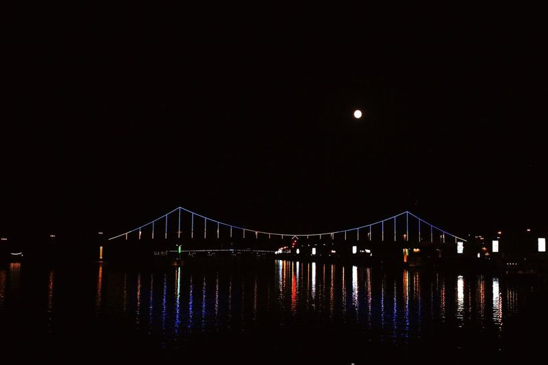 """""""Keep Smiling, Because Life Is A Beautiful Thing And There's So Much To Smile About."""" ― Marilyn Monroe Night Connection Illuminated Bridge - Man Made Structure Built Structure Sky Outdoors Water Moon No People Travel Destinations Architecture City"""