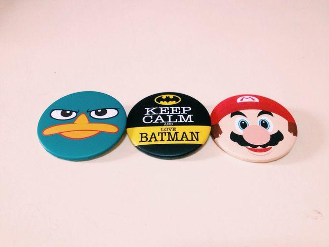 Perry the platypus, Batman and Mario Badges . Vscocam BigBadWolf