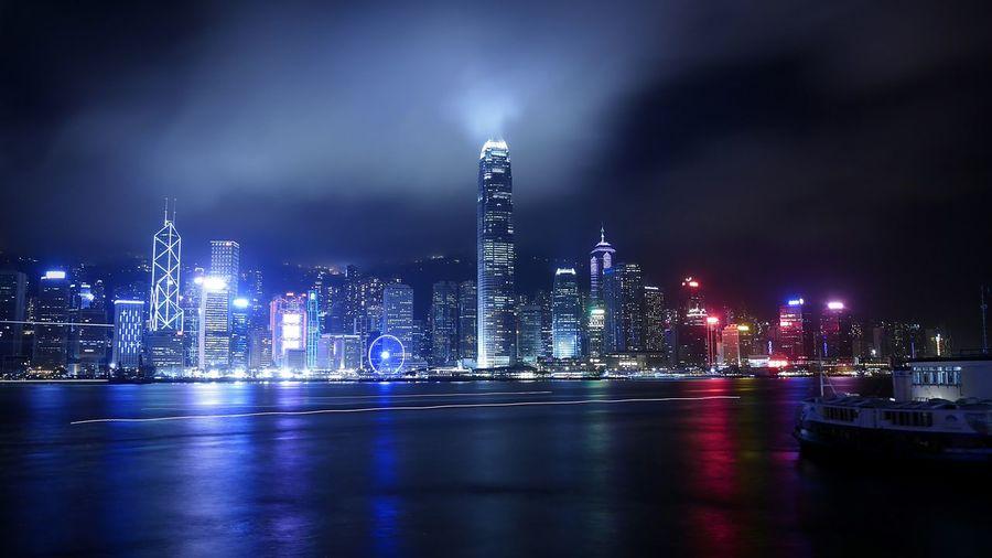 Victoria Harbour from Tsim Sha Tsui 尖沙咀 Hong Kong Discoverhongkong DMC_CM1 Leica Long Exposure Night Photography EyeEm Best Shots Traveling Beautiful View